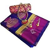 Art Décor Sarees Women's Blue Color Banarasi Silk Jacquard Saree With FREE Blouse With Jewellery Necklace & Latkan