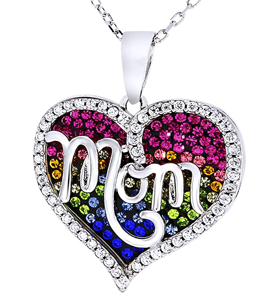 AFFY Mom Heart Pendant Necklace Rainbow Crystal in 14k White Gold Over Sterling Silver
