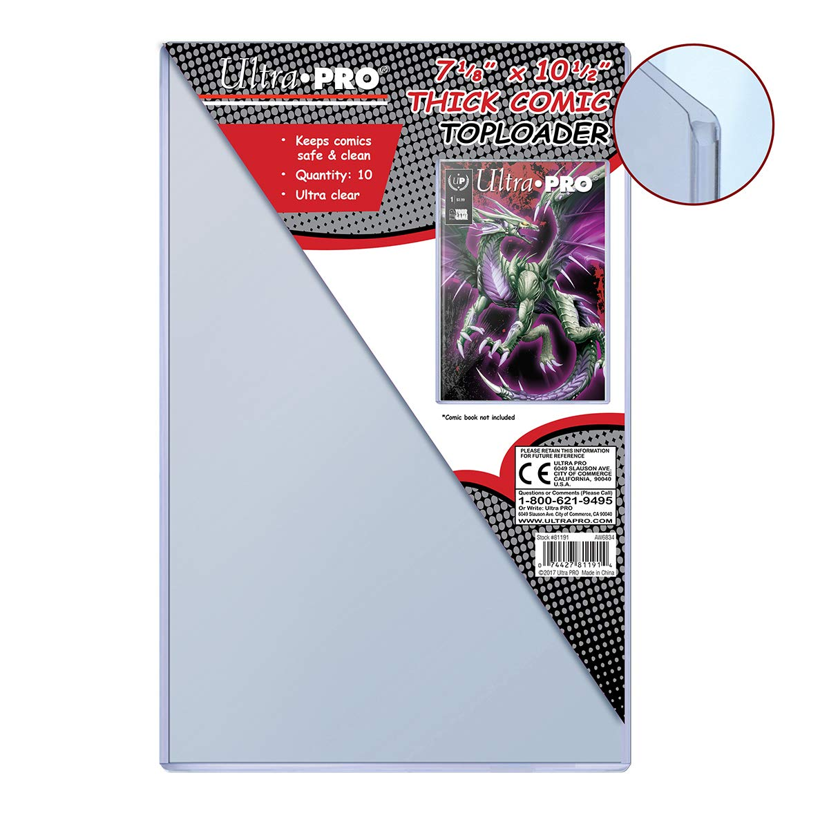 Ultra Pro 7-1/8' X 10-1/2' Thick Comic Toploader 10ct SS-SPI-SFTL1175