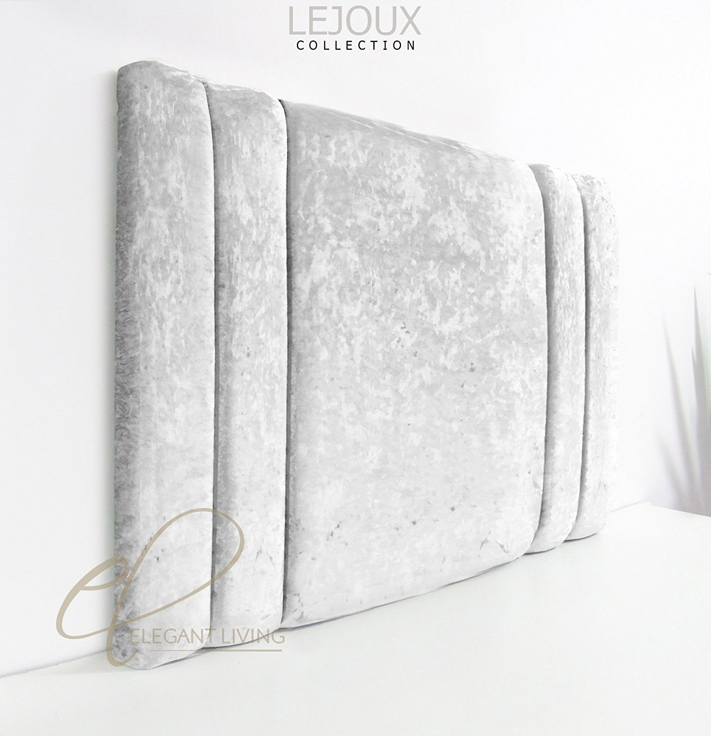 Lejoux™ Collection Normal Luxury Designer Headboard Bed Head in Crushed Velvet in Single Double King (Silver, 3ft (Single) 20 Inches High) Elegant Living Europe Ltd