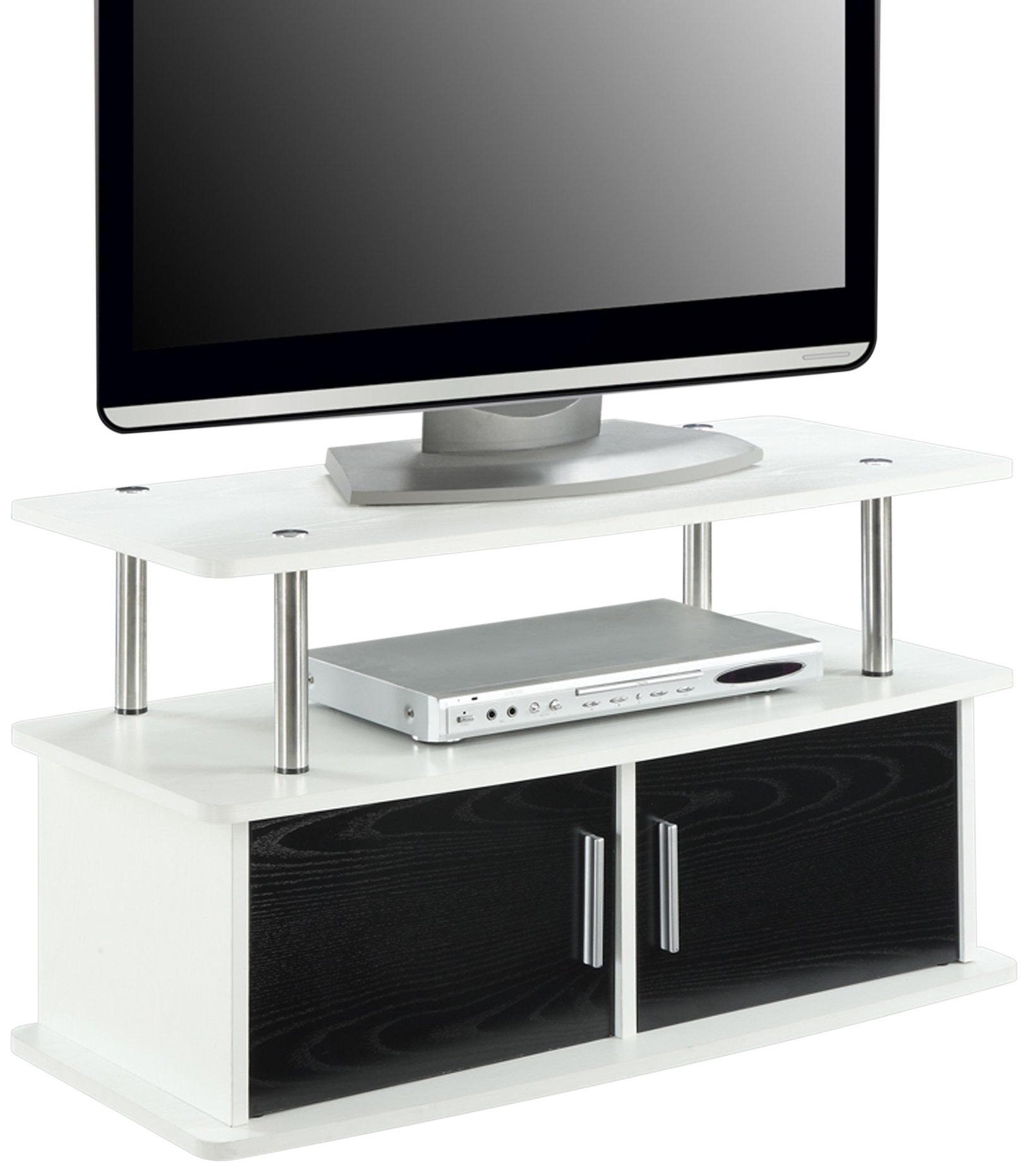Convenience Concepts Designs2Go Deluxe 2-Door TV Stand Cabinets, White