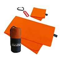 Microfiber Sports Travel Towel Sets by Alamoha. Super Absorbent-Lightweight-Ultra Compact-Quick Dry Swimming Bath Towel (160x81cm) with Hand Foot Cleaning towel (30x50cm) & Storage mesh bag. Suitable for Outdoors Travelling Camping Hiking Cycling Backpack Mountaineering Gym Yoga or Beach