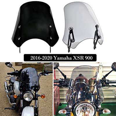 FATExpress XSR900 Accessories Motorcycle Windshield Windscreen Wind Deflector Screen Flyscreen Protector for 2016 2020 2020 2020 Yamaha XSR 900 16-19 (Light Smoke): Automotive