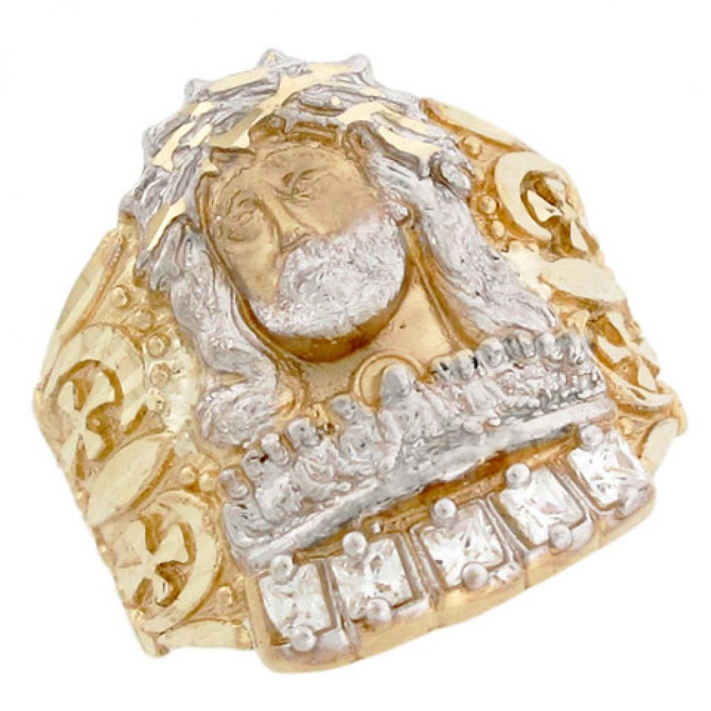 14k Two Tone Solid Gold Jesus Christian Religious CZ Large Mens Ring