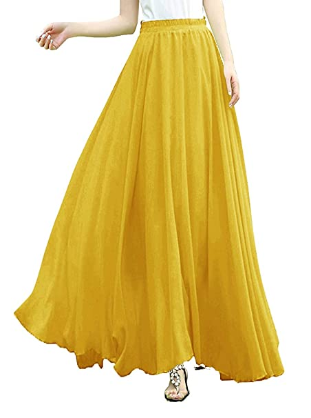 4be881f052 Women Full/Ankle Length Elastic Pleated Retro Maxi Chiffon Long ...