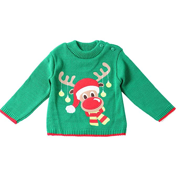 Christmas Kids Baby Winter Xmas Deer Knitted Sweater Top Jumper Pullover Blouse