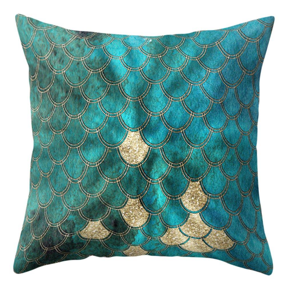 dragonaur 18 Inch Square Multicolor Fish Scale Pillow Case Cushion Cover Home Decor size Medium (1#)