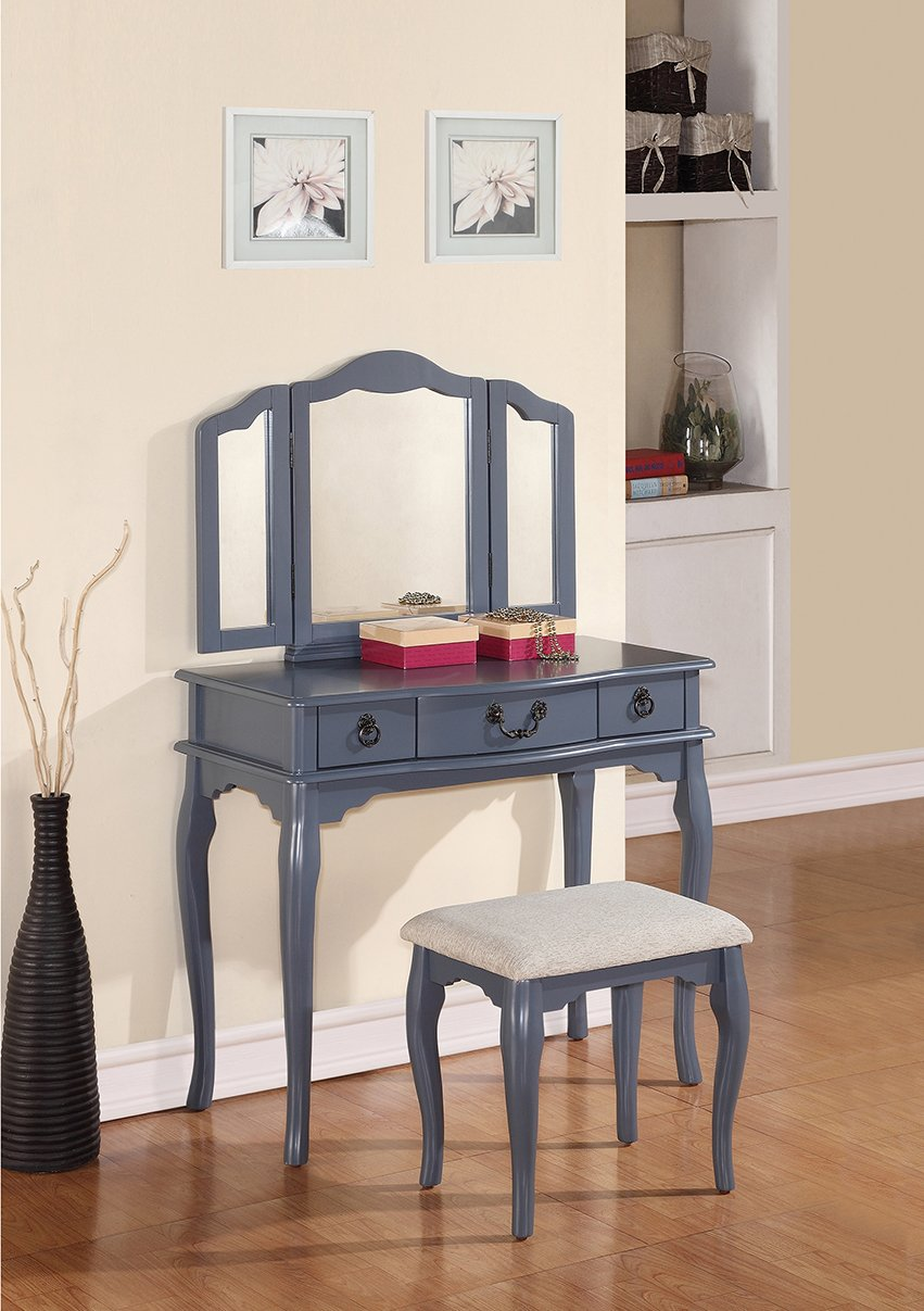 vanity desk no mirror. Amazon com  Poundex Bobkona Susana Tri fold Mirror Vanity Table with Stool Set Gray Kitchen Dining
