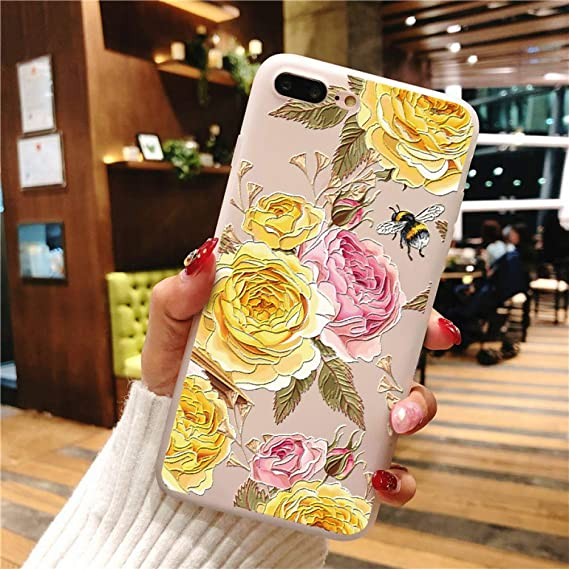 Amazon.com: KCHHA Phone case 3D Emboss Relief Flower TPU for ...
