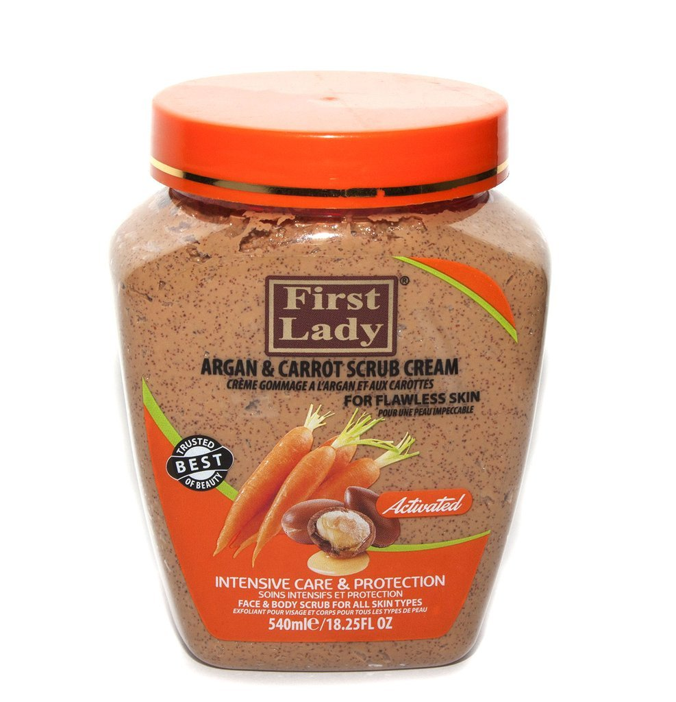 First Lady Activated Argan & Carrot Scrub Cream 540ml - For flawless skin - Face & Body + First Lady Herbal Hair Oil 30ml