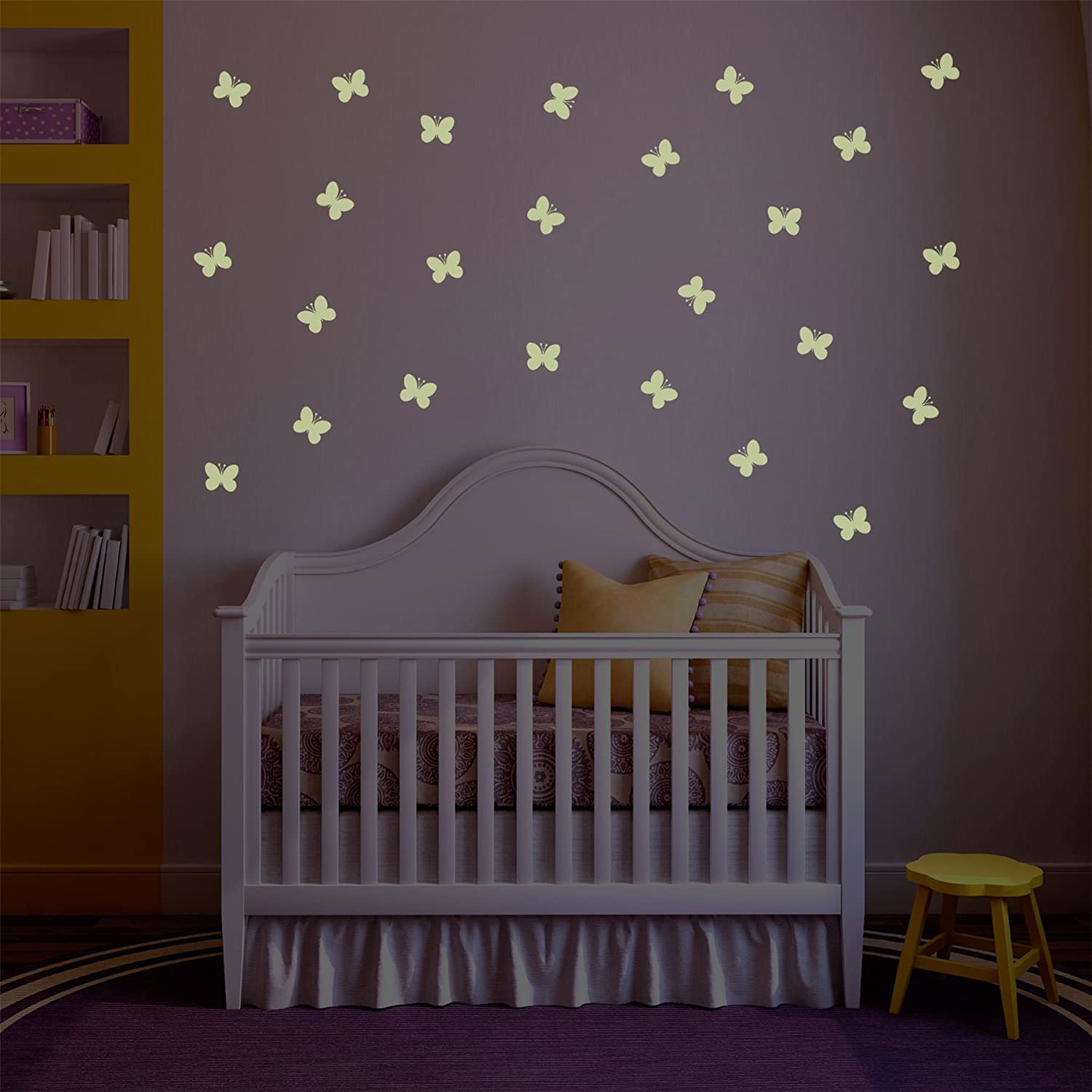 Supertogether Regular Repositionable Glow in the Dark Butterfly Kids Bedroom Wall Stickers, Pack of 25, White GLOW-BUTTERFLIES-REG