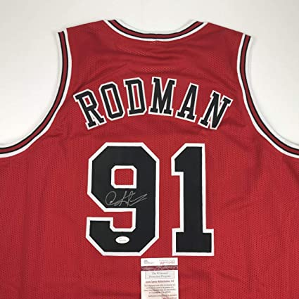 lowest price 72429 4380e Autographed/Signed Dennis Rodman Chicago Red Basketball ...