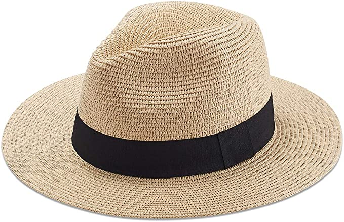 Sowift Beach Hats for Women, Summer Straw Hats Wide Brim Panama Hats with UV UPF 50+ Protection for Girls and Ladies