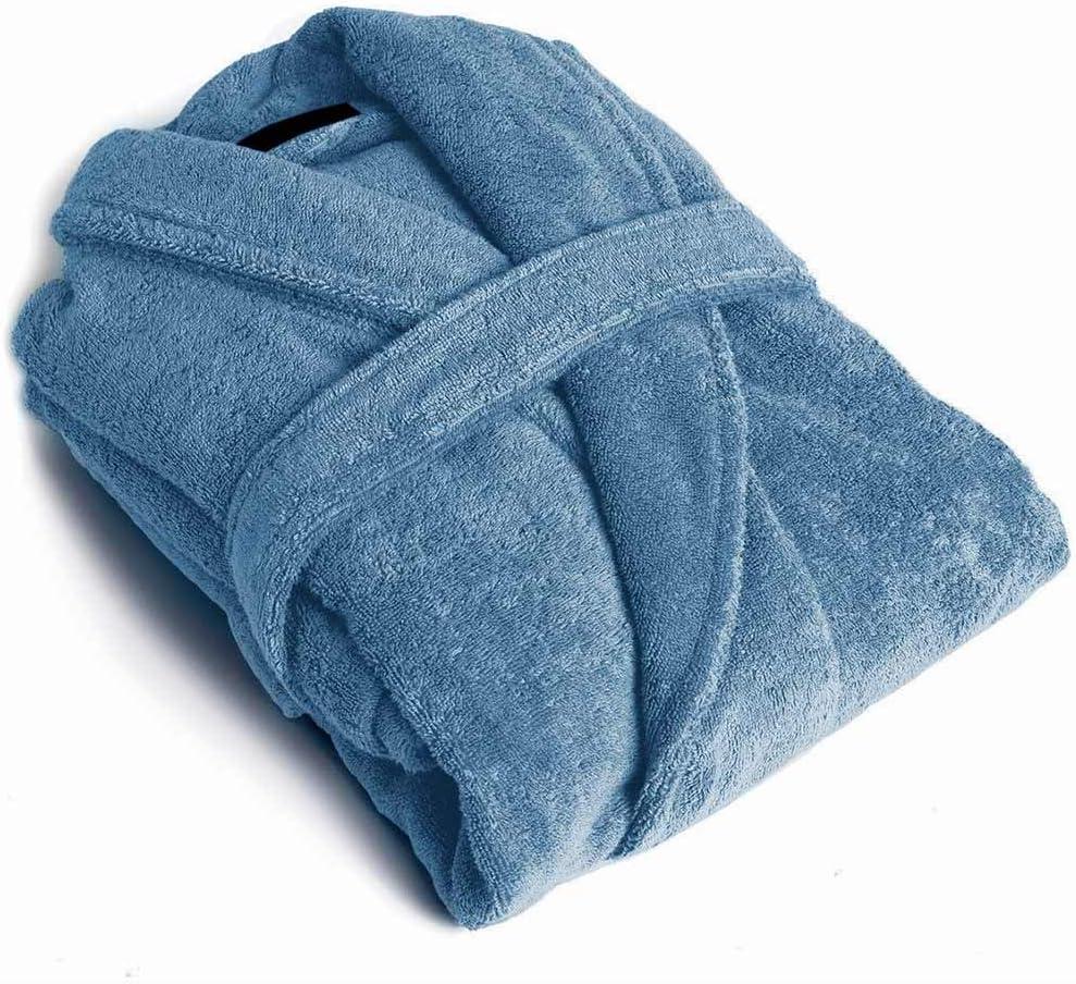 PimpamTex – Albornoz Unisex 100% Algodón con Cuello Tipo Smoking para Hombre y Mujer - (Talla M, Azul AZAFATA)