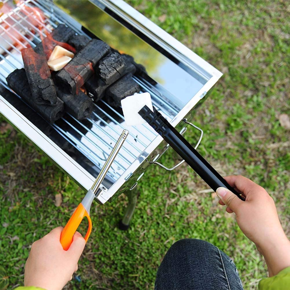 AOFITEE Fireplace Long Tongs 2 Pack Coal Sturdy BBQ Firewood Tongs 11 inch Charcoal Heavy Duty Wrought Iron Log Claw Grabber for Wood