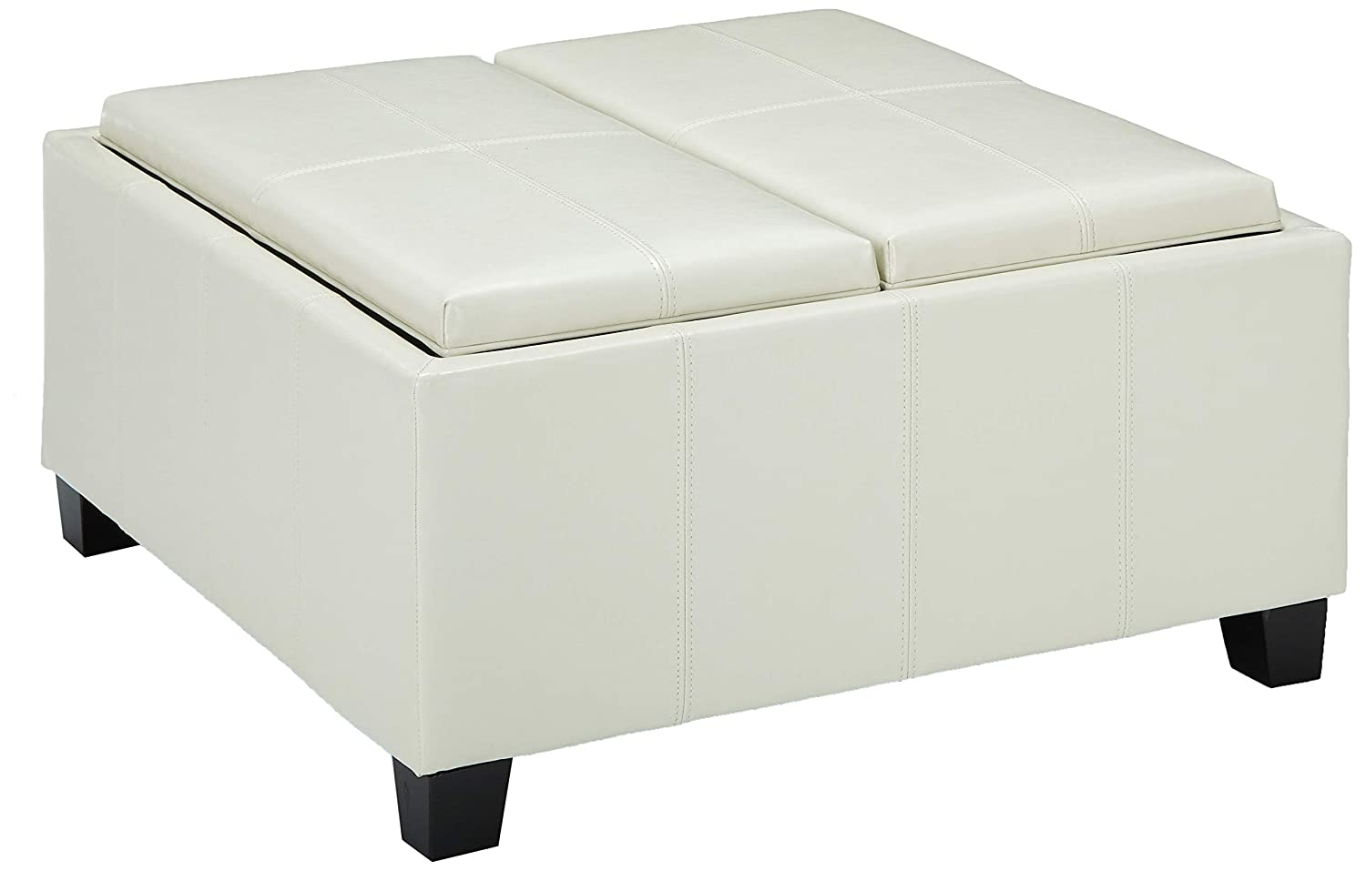 Brilliant Christopher Knight Home Living Justin Off White Leather Tray Top Storage Ottoman Ivory Gmtry Best Dining Table And Chair Ideas Images Gmtryco