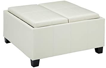 Sensational Christopher Knight Home Living Justin Off White Leather Tray Top Storage Ottoman Ivory Onthecornerstone Fun Painted Chair Ideas Images Onthecornerstoneorg
