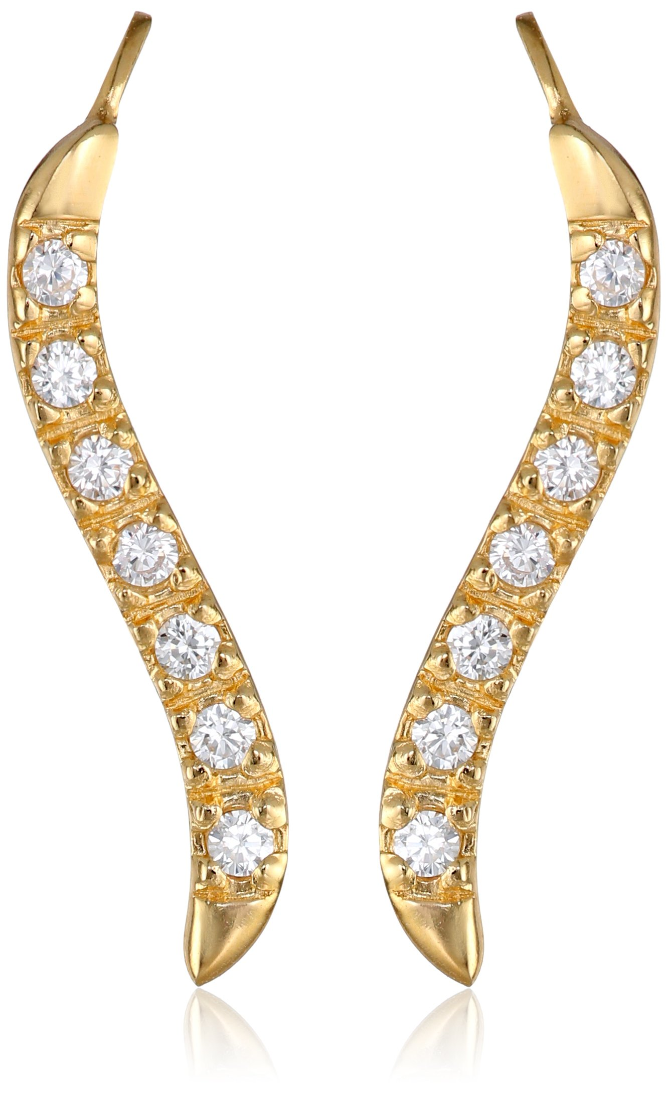 The Ear Pin Cubic Zirconias Gold Over Silver Short Version Classic Earrings