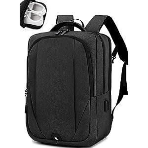 NEWHEY リュック メンズ バックパック リュックサック ビジネスリュック 15.6インチ PC リュック YKK USB充電ポート 多機能 防水 撥水 通勤 出張 旅行 黒