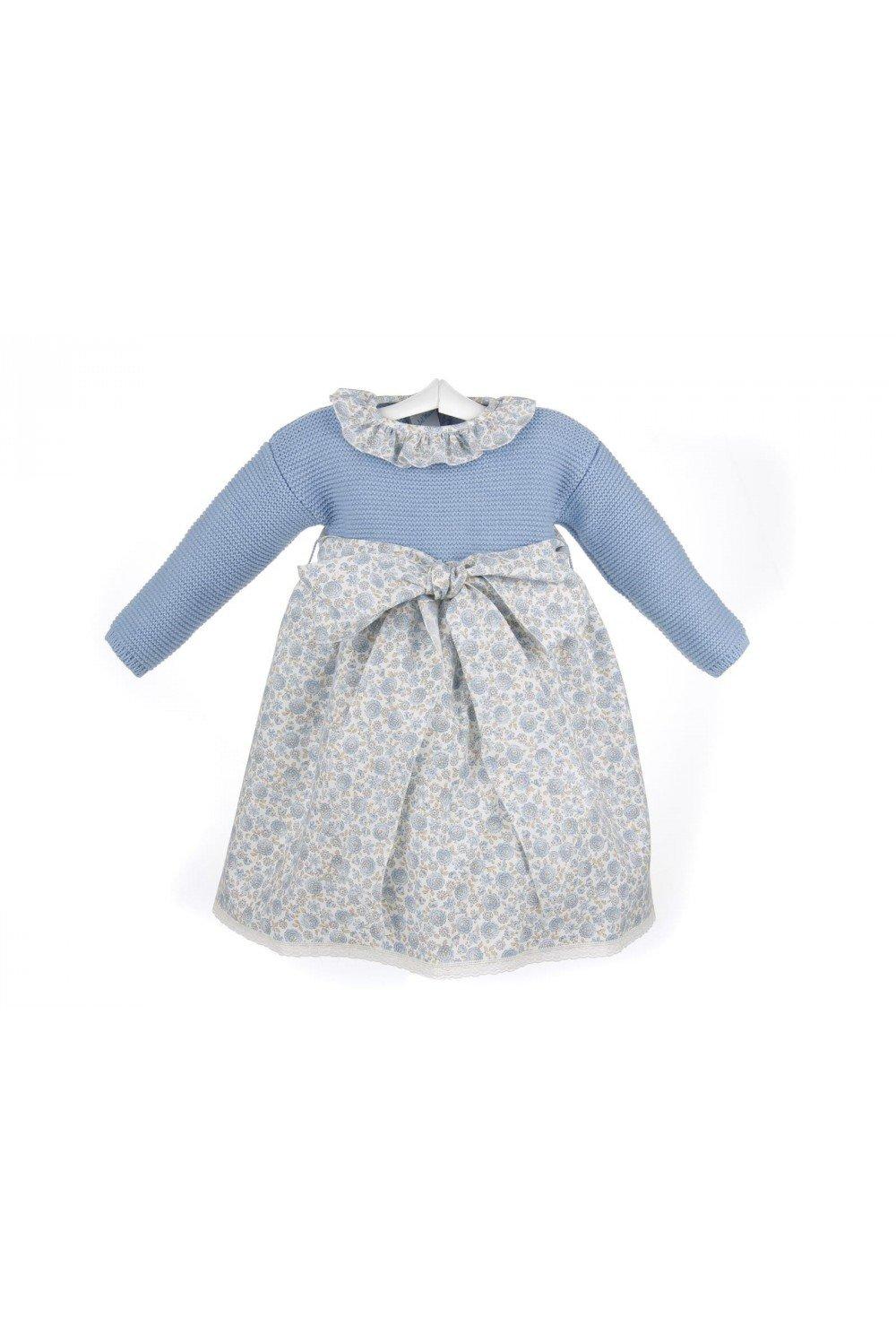 Isabel Maria - Vestido para bebé con el cuerpo de lana y la falda de viyela estampada - 6 meses, Azul/Estampado azul y beige: Amazon.es: Bebé
