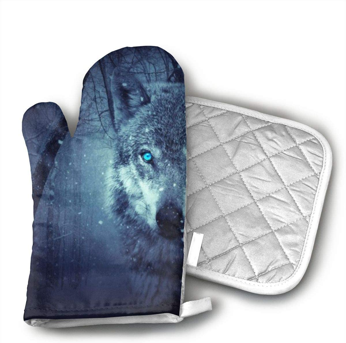 CHWEYAQ ZVNQYGFGA69 Fantasy Wolf Oven Gloves, Smart Home, Long, Mittens, Heat Resistant, Extra Thick, Quilted