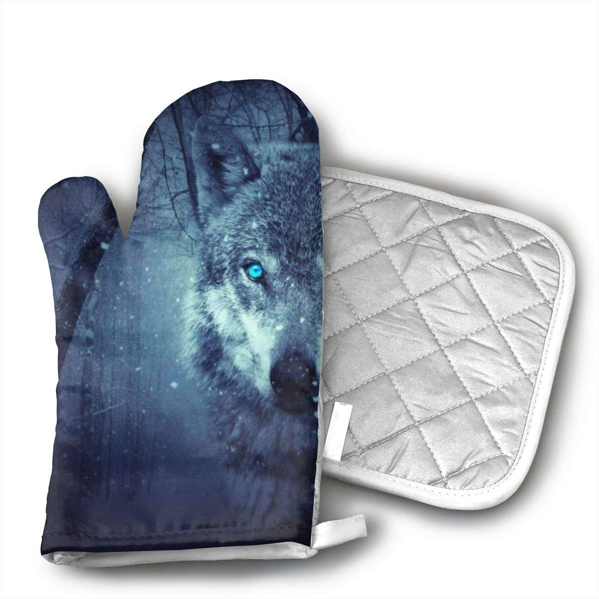 TUJABZA71 LZVQBQDYAA Fantasy Wolf Oven Gloves, Smart Home, Long, Mittens, Heat Resistant, Extra Thick, Quilted