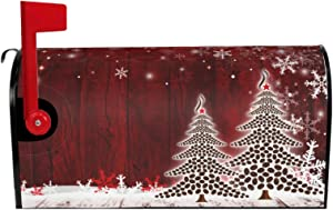 """MSGUIDE Winter Snowflake Christmas Tree Magnetic Mailbox Cover Mailbox Wraps Post Letter Box Cover Garden Yard Home Decor for Outdoor Standard Size-18""""x 21"""""""