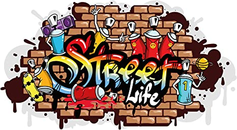 Dekodino Wandtattoo Graffiti Street Life Wandausbruch Wandsticker Jugendzimmer Amazon De Baumarkt
