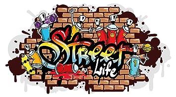 Wandtattoo Jugendzimmer Street Life Graffiti Style Wandausbruch