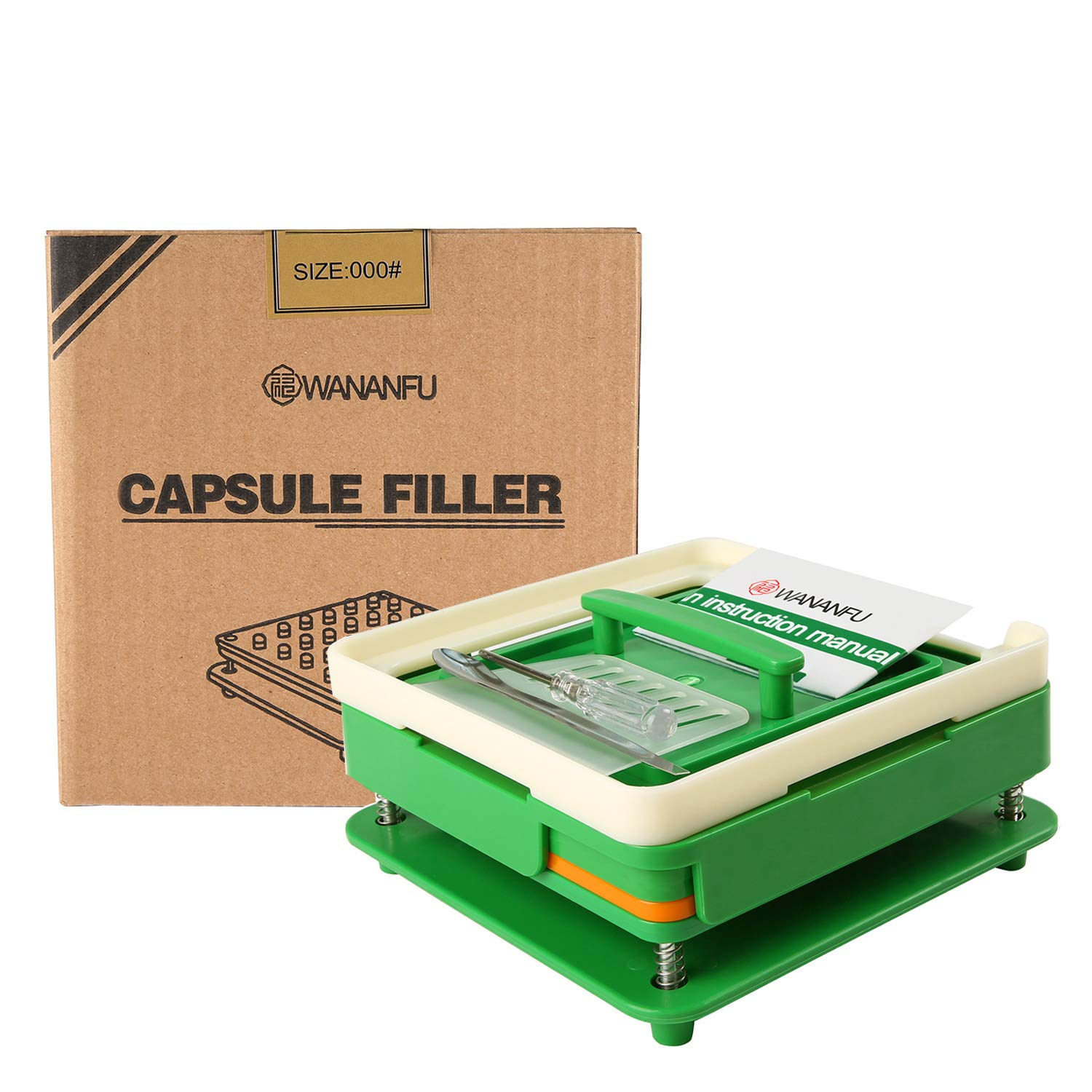 100 Hole (000#) Capsule Holder with Tamper for Size 000 Empty Capsules Holding Tray Pill Dispensers & Reminders -Green by wananfu (Image #2)