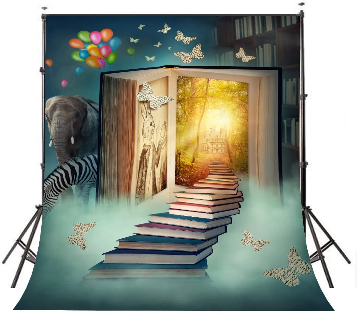LYLYCTY Fairy Tale Background for Photo 5x7ft Children Theme Book World Elephant Zebra Photography Backdrop Studio Props Wall LY033