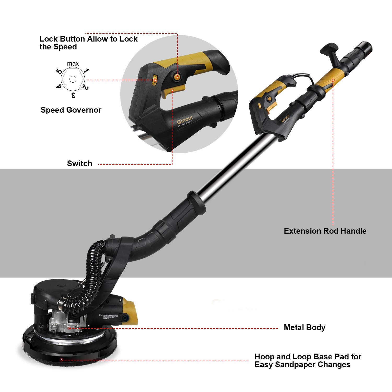 Long Dust Hose Extendable Handle Ginour Lightweight Electric Drywall Sander With Vacuum Attachment Storage Bag 6 Sanding Discs 2 LED Light /& Variable Speed
