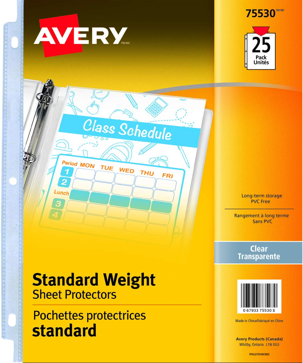 Avery Standard Weight Sheet Protectors, Clear, Fits Letter Size -8.5 x 11, 25 Sheets (75530) 67933755308