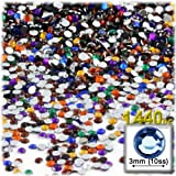 The Crafts Outlet 1440-Piece Round Rhinestones, 3mm, Jewel Tone Assortment