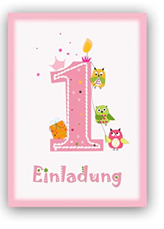 12 Einladungskarten Kindergeburtstag Zum 1 Geburtstag In Rosa Mit