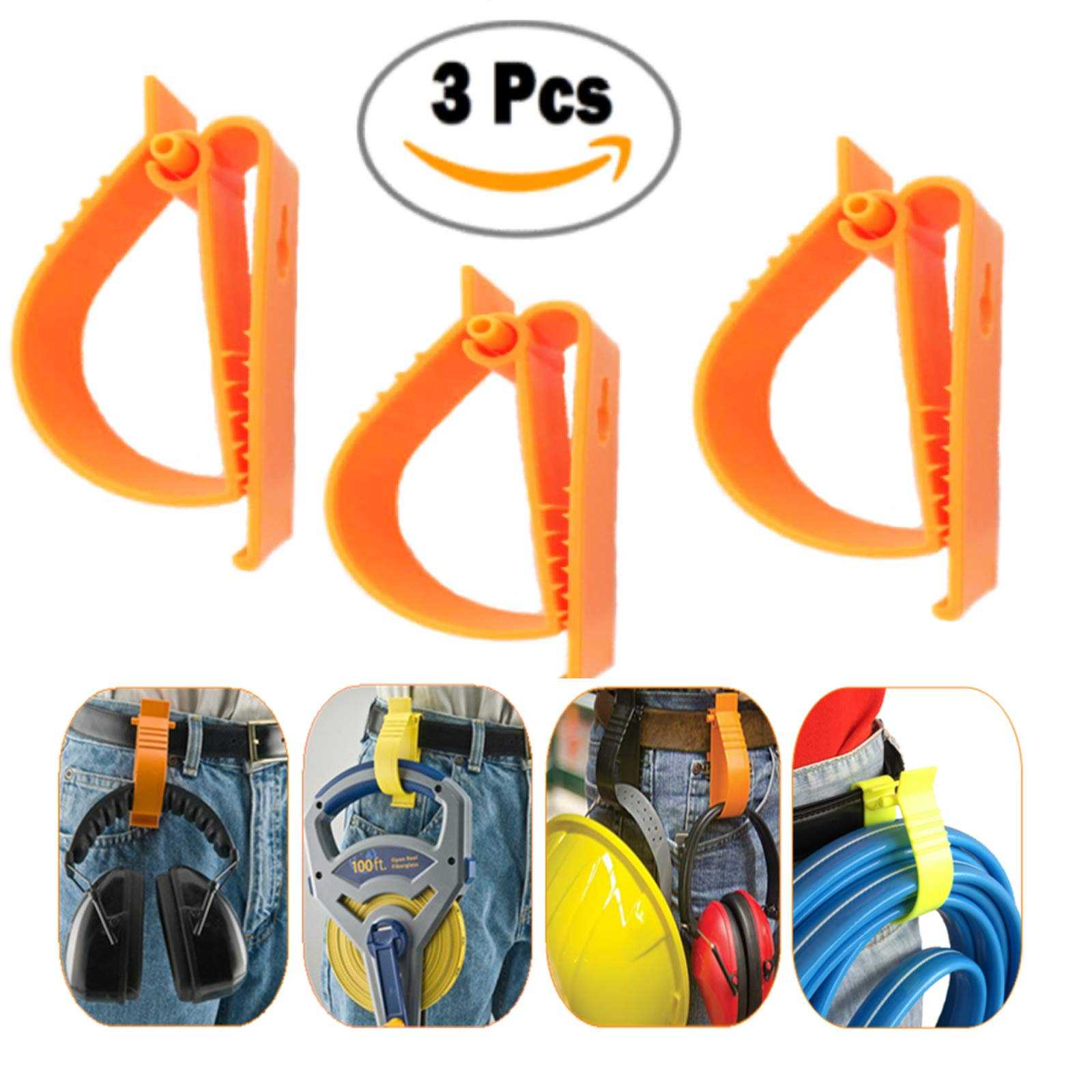 S002 Orange Color 3 Pcs Glove Grabber Clip Holder Guard Work Safety Clip Glove Keeper Safety Clips for Helmet, Earmuff, Mask, Cable, Cord, Rope Hunging in Hook Belt Clip (3 PCS PACK) by Sinomax