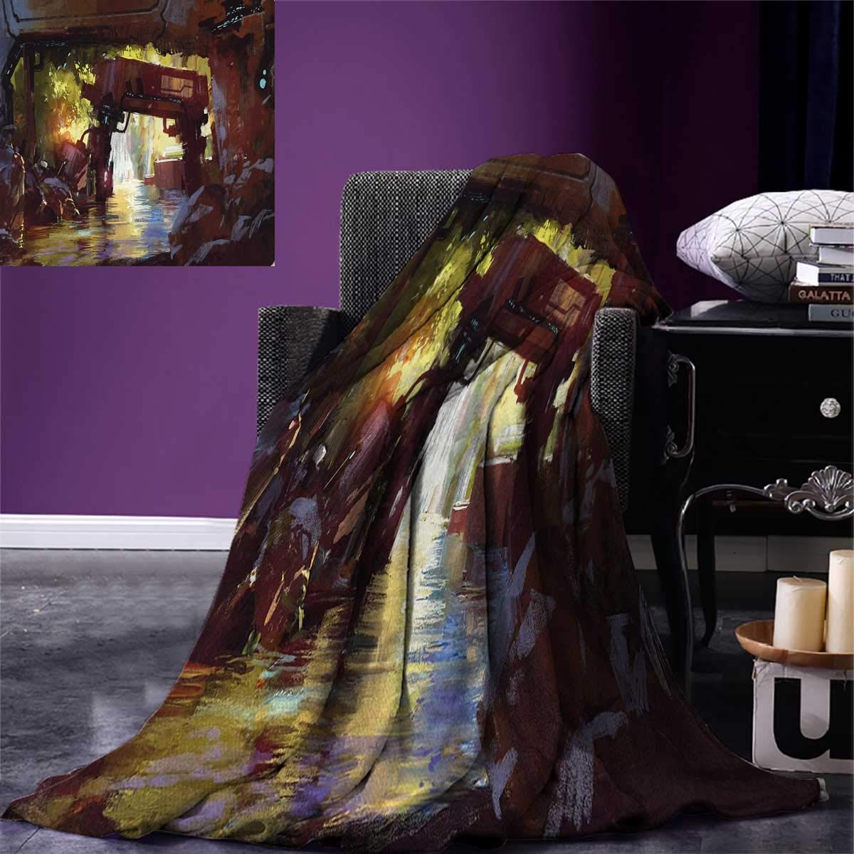 Anniutwo Industrial Digital Printing Blanket Watercolor Artwork Futuristic Forest Old Machine in Deep in The Woods Waterfall Custom Design Cozy Flannel Blanket 80''x60'' Multicolor