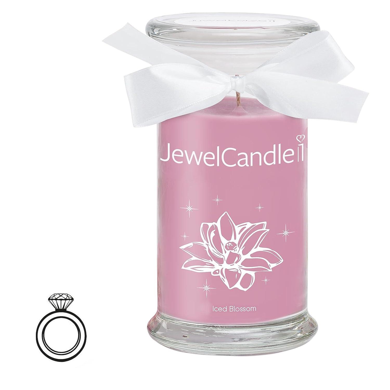 JewelCandle Iced Blossom - Candela in vetro con un gioiello - Candela profumata rosa con una sorpresa in regalo per te (Anello in argento sterling 925, Tempo di combustione: 90-125 ore)(S) JuwelKerze JewelCandle UG