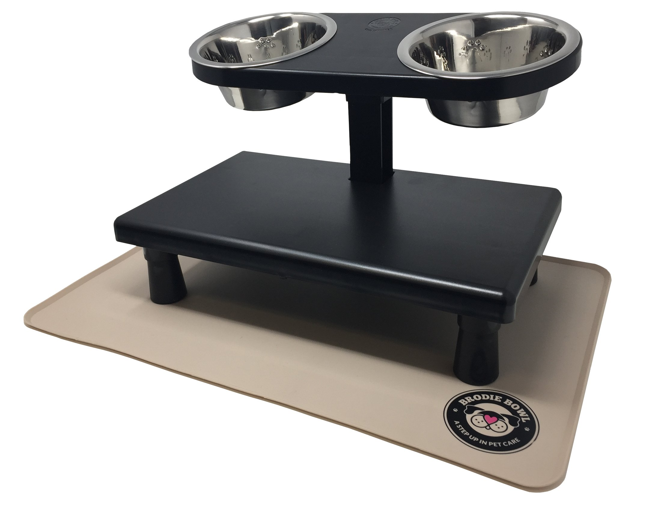 Brodie Bowl Elevated Dog Bowls Raised Pet Feeder for Small Size Pets - Includes Stainless Steel Pet Bowls + Non Slip Mat to Aid Digestion (Black)