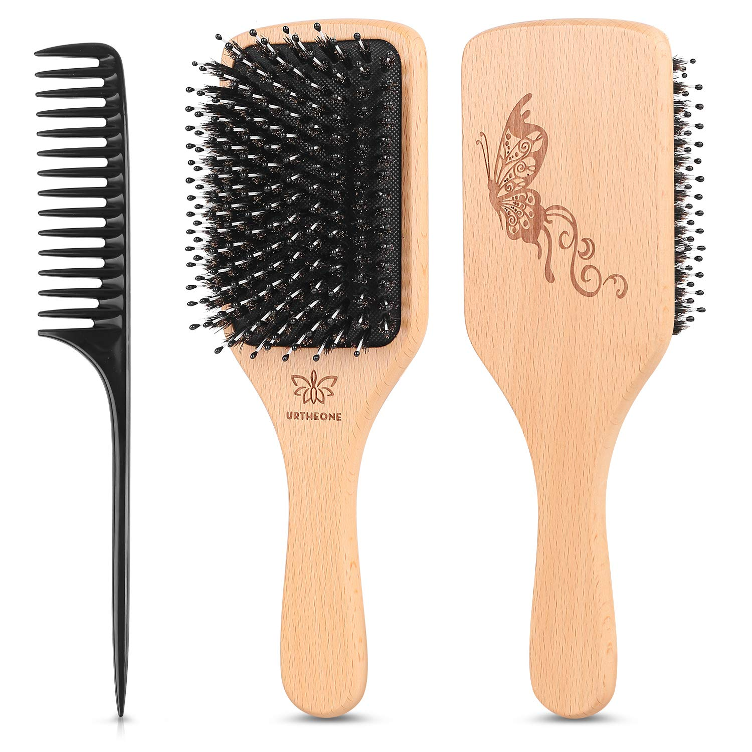 Hair Brush Boar Bristle Hairbrush for Thick Curly Thin Long Short Wet or Dry Hair Adds Shine and Makes Hair Smooth, Best Paddle Hair Brush for Men Women Kids by URTHEONE