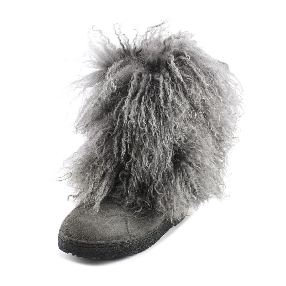 Bearpaw Boots Womens Boetis Curly Lamb Fur 11'' 10 Charcoal 1294W