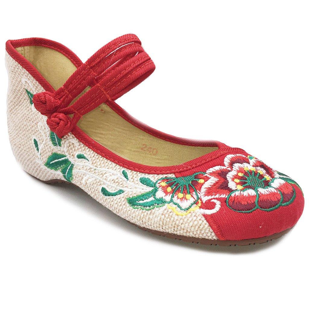 Eagsouni® National Wind Floraux Brodées Chinoises En Toile Chaussures Femme Compensées