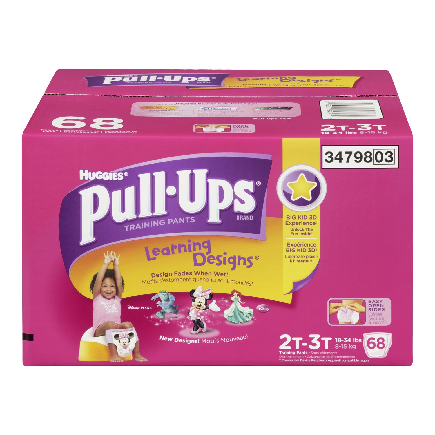 Huggies Pull-Ups Learning Designs Training Pants for Girls, Giga Pack, Size 2T-3T, 68 Count