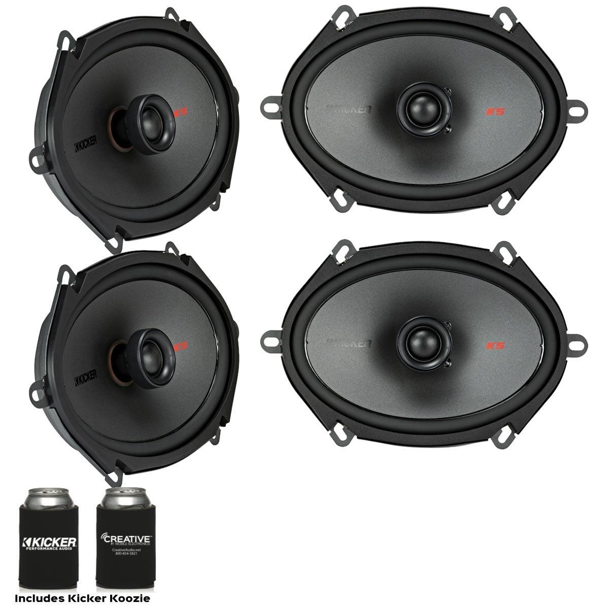 Kicker Speaker Bundle - Two pairs of Kicker 6x8 Inch KS-Series Speakers 44KSC6804 by Kicker
