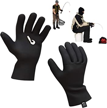 Textured Grip Palm Neoprene Fishing Gloves Waterproof Gloves for Fishing One Size Fits Most L to XL Ice Fishing Gloves Waterproof Men Mens Neoprene Gloves Waterproof Fishing Gloves Soft Lining
