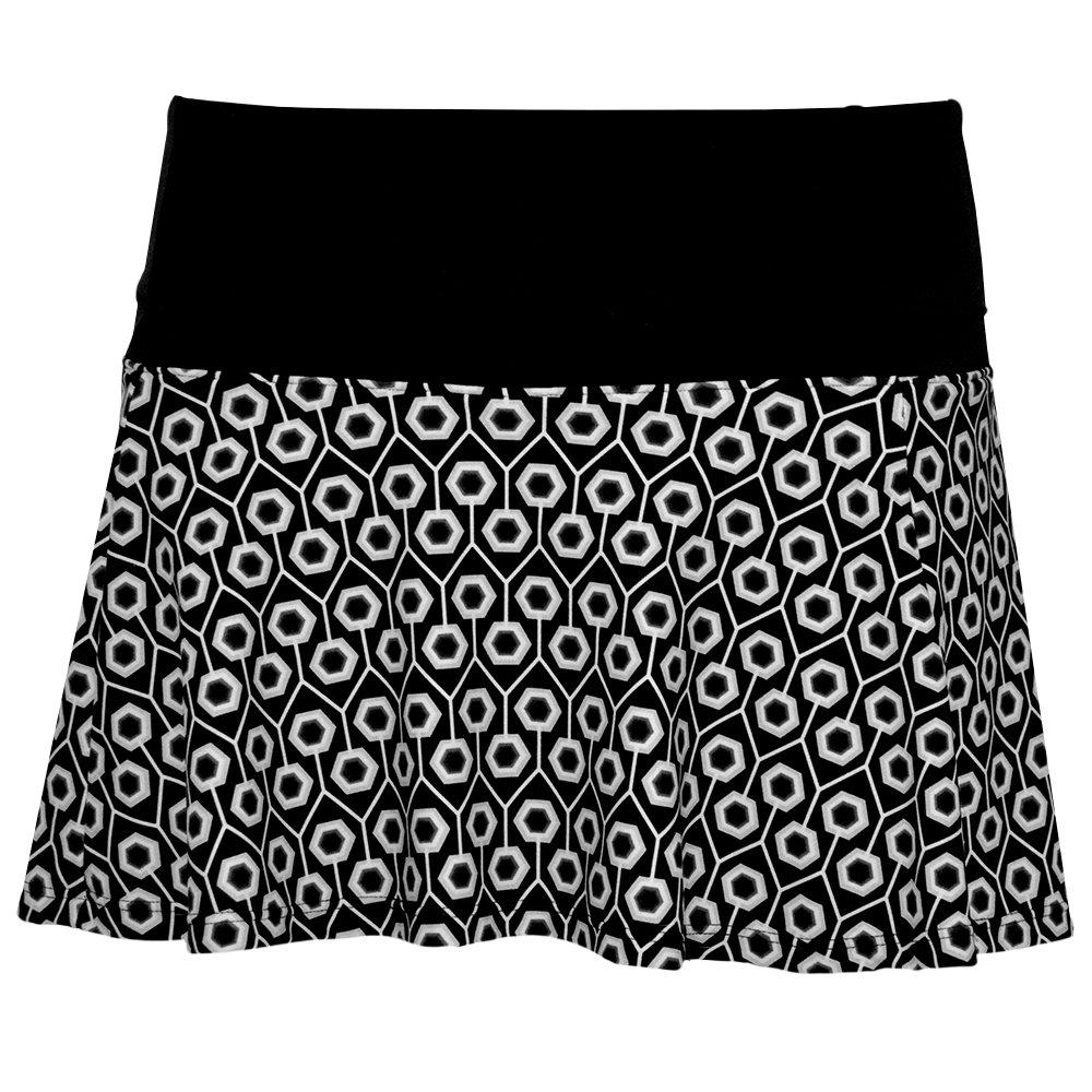 Bpassionit Tennis Skirt Skort with Attached Undershort (Medium, Black/Gray/White Geo Print)