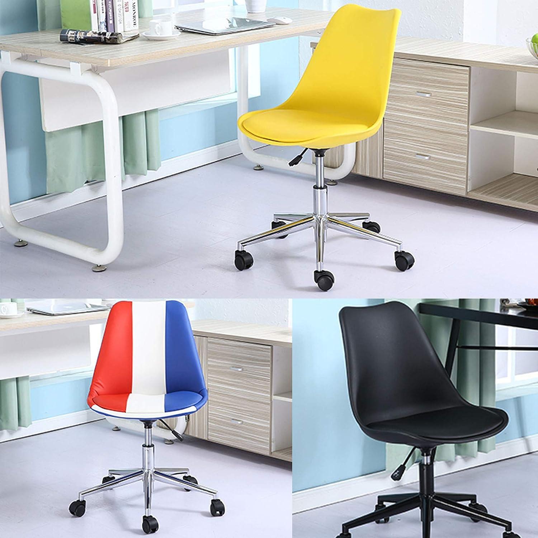 Svängbar stol sovrum lyft roterande kontorsstol ergonomisk mellanrygg datorstol hem liten enkel student skrivbord stol med lädersvamp justerbar, gul + svart, 48 x 43 x 96 cm Grå