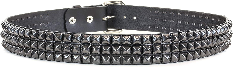 Three Row Black Pyramid Stud Belt Made in USA Genuine Leather Punk Goth Thrash Metal