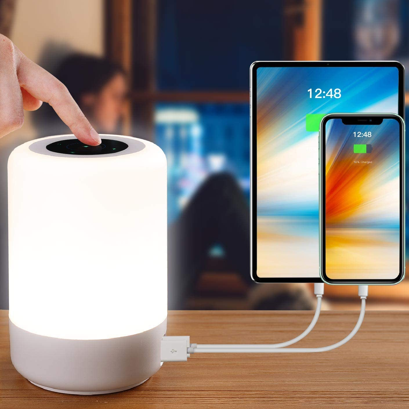 Table Lamp-Touch Sensor Lamp for Kids Bedroom, Rechargeable Dimmable Portable Table Bedside Lamps with White Light + RGB Color Changing for Rea