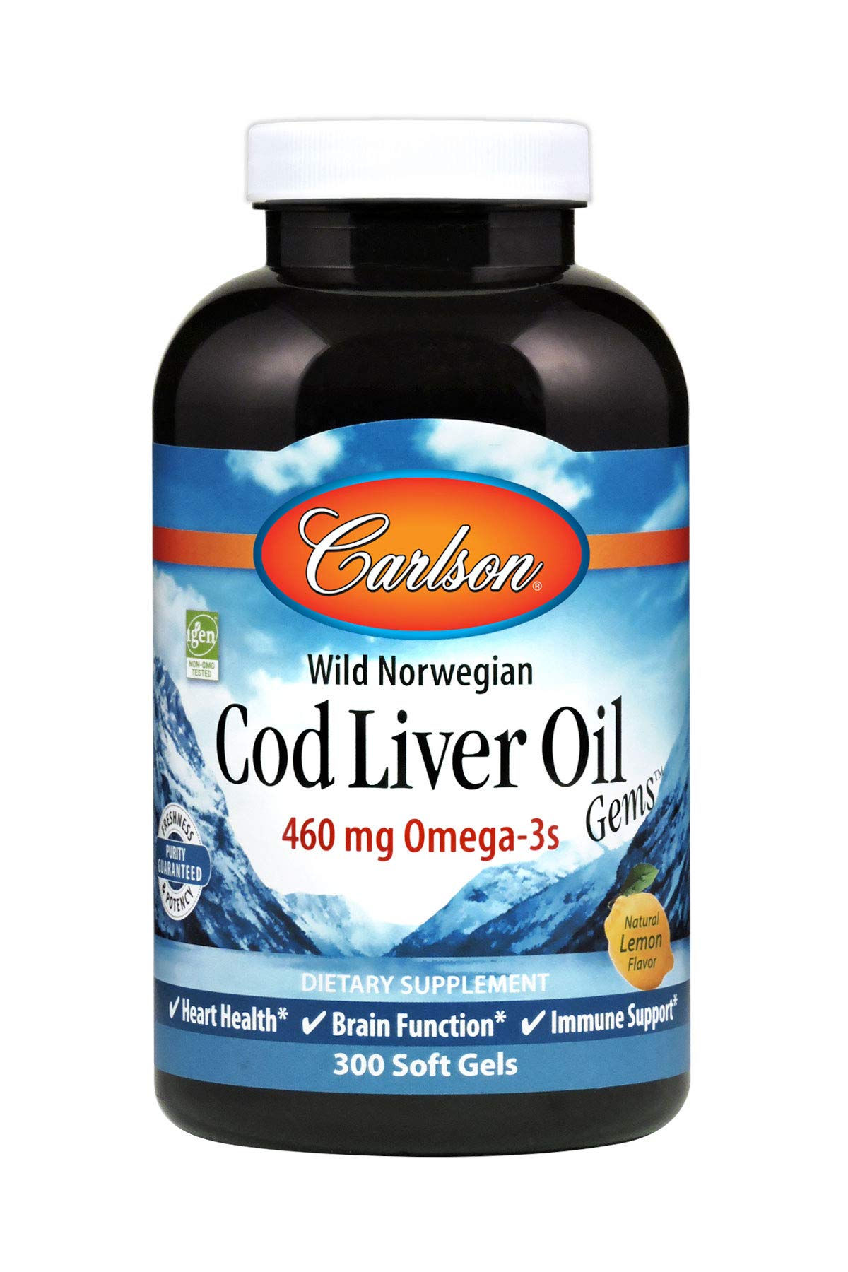 Carlson - Cod Liver Oil, 460 mg Omega-3s, Norwegian, Sustainably Sourced, Lemon, 300 soft gels